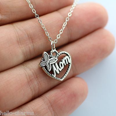 Silver Mom Charm Necklace   Butterfly Heart Love Mom Family  New  Mothers Day