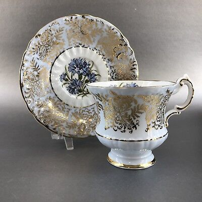Paragon Powder Blue Bone China Teacup & Saucer England Gold Floral Tea Cup