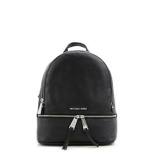 d18a40175c88 Michael Kors Rhea Zip Small Backpack Black Silver 30s5sezb1l for ...