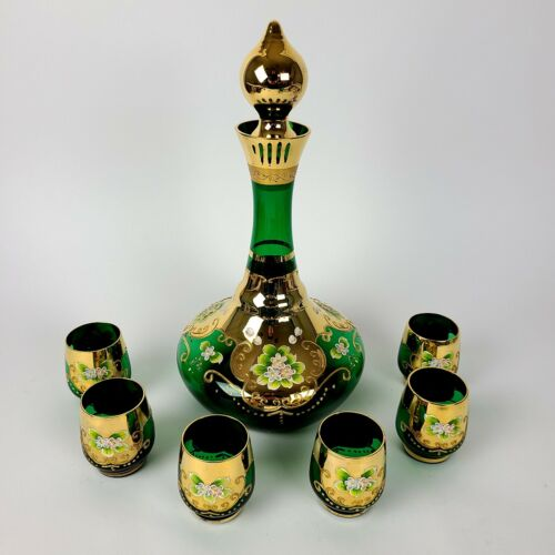 ARDALT LENWILE EMERALD GREEN GOLD MUSICAL GLASS DECANTER SET W/ 6 CUPS
