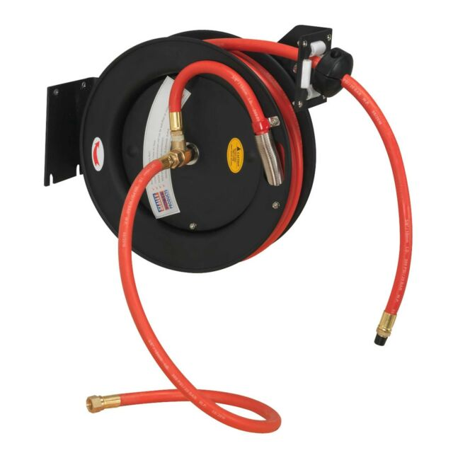 Sealey Retractable Air Hose Steel Reel 8mtr 10mm ID Rubber Hose - SA84