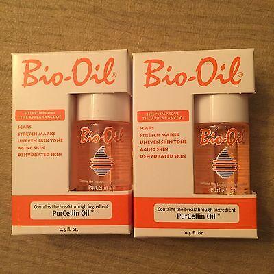 Lot of 2 Sample/Travel Size Bio-Oil PurCellin Oil .5 fl oz ea