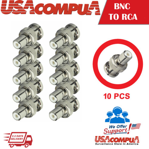 10Pcs BNC Male to RCA Female Coax Coaxial Connector Adapter for CCTV camera