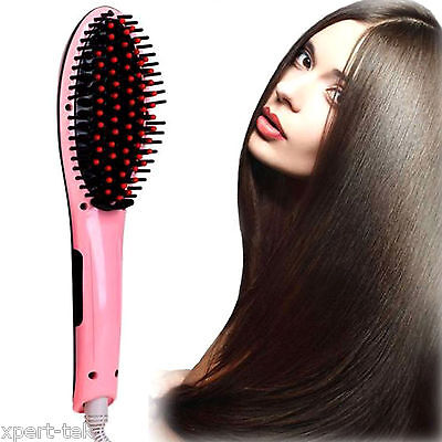 Electric Hair Straightener Massager Comb Iron Brush LCD Auto Temperature Control