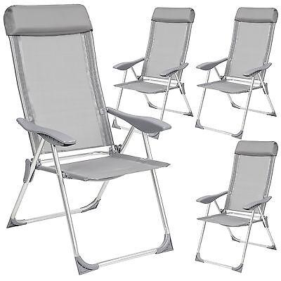 4 Aluminio Sillas de jardín plegable alu sillón balcón terraza set conjunto...