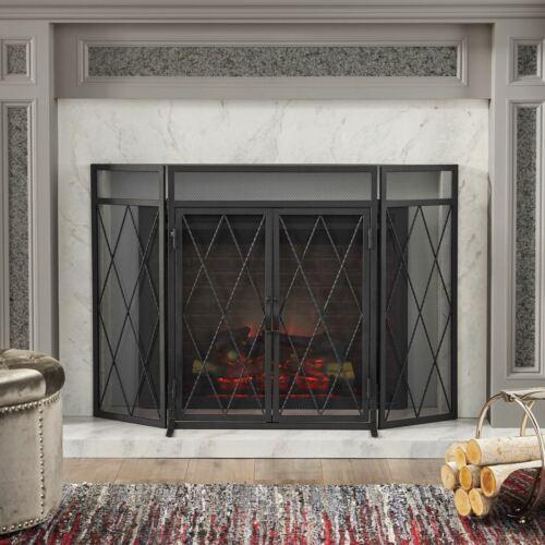 Kyomi Modern Iron Folding Fireplace Screen with Door Fireplace Screens & Doors