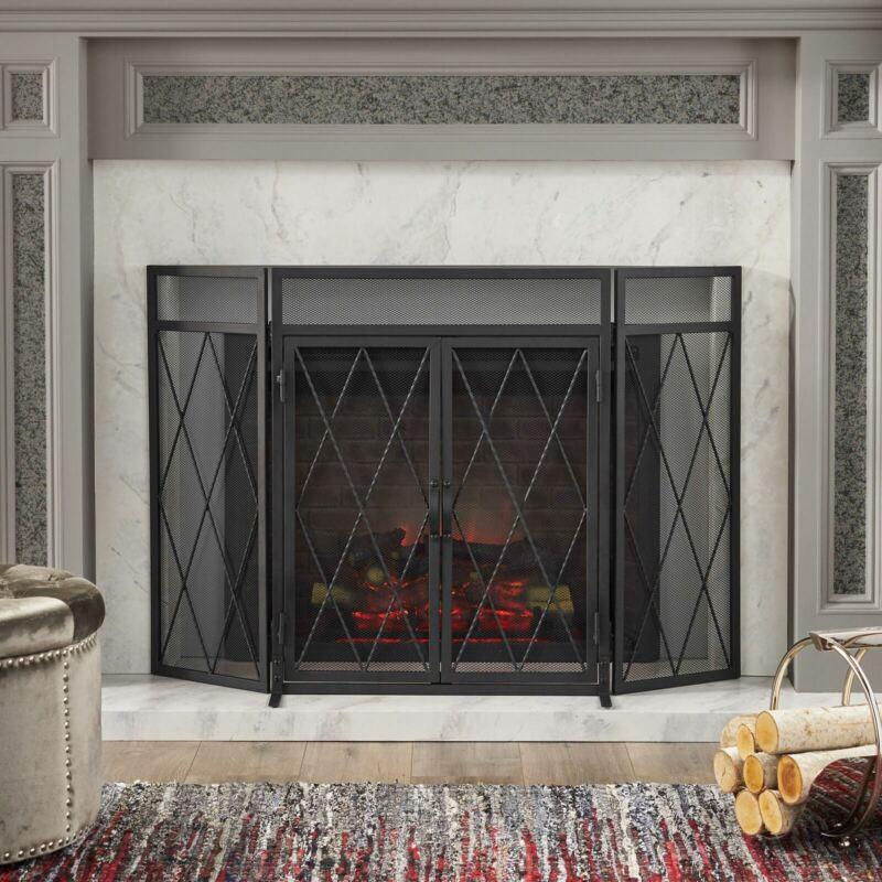 Kyomi Modern Iron Folding Fireplace Screen with Door