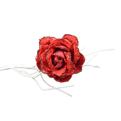 10cm Clip on Rose Flower Christmas Tree Decoration - Red ()