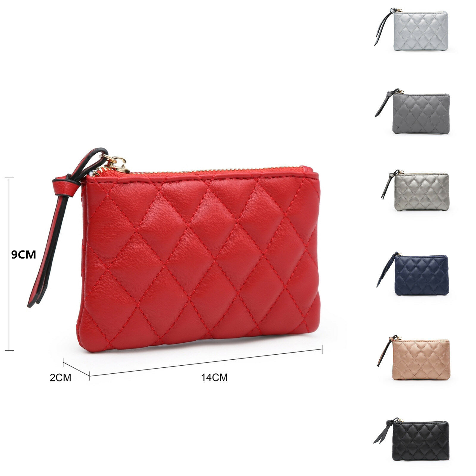 Woman Synthetic Leather Small Mini Coin Purse Make up Diamond-Quilted Bag UK