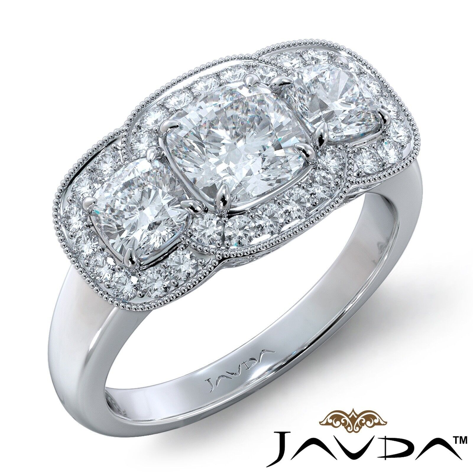 2.25ctw Milgrain Halo 3 Stone Cushion Diamond Engagement Ring GIA I-SI1 W Gold
