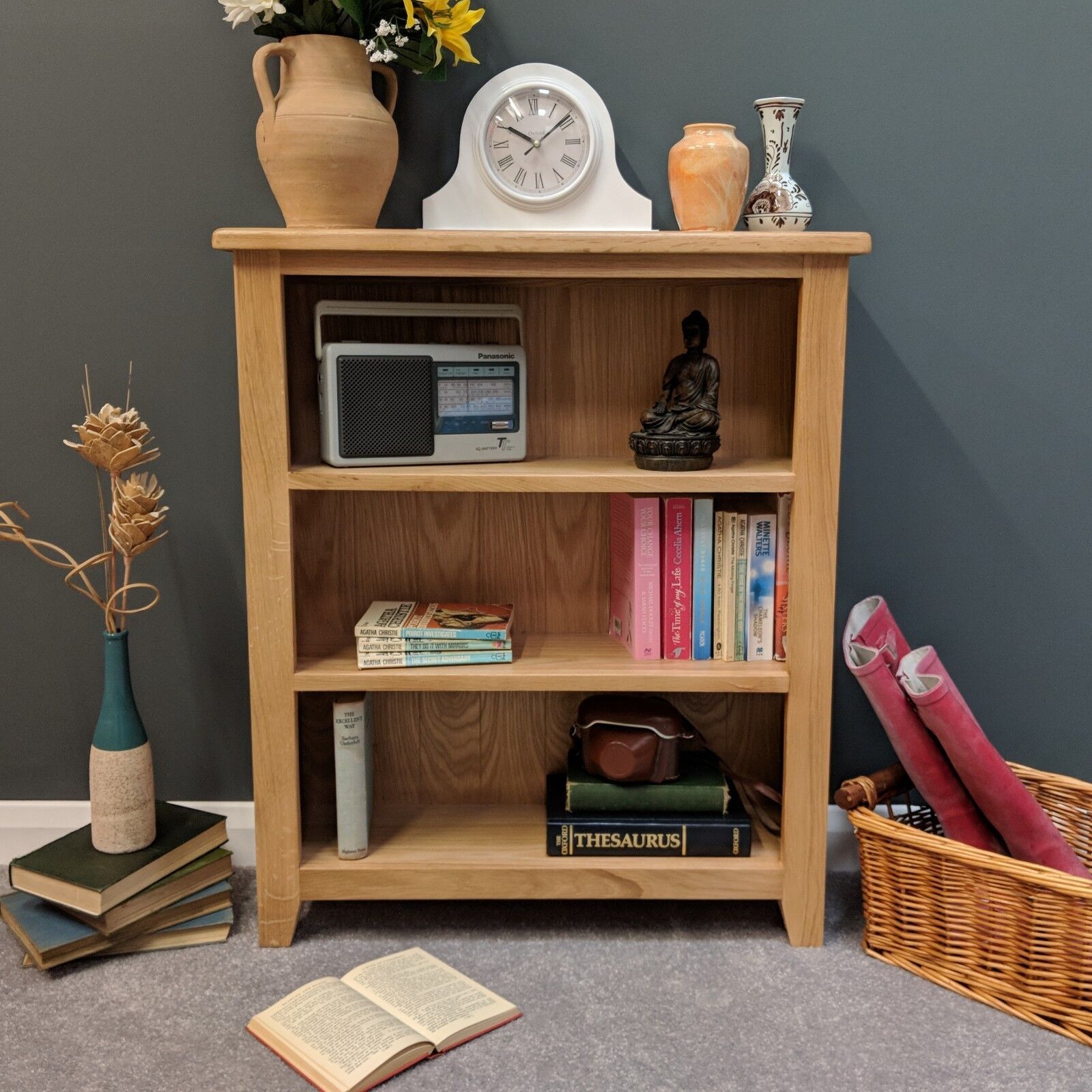 Details About Oak Small Bookcase Light Oak Low Bookshelves Solid Wood Shelving Harvard