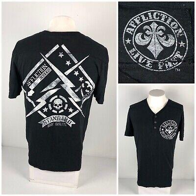 Affliction Mens Medium Shirt Henley Black Short Sleeve V Neck Cotton Skull