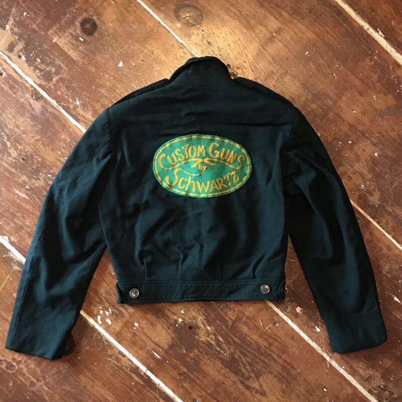 Vintage 50s Schwartz Custom Guns Wool Work Jacket Flocked Patch Mens Small
