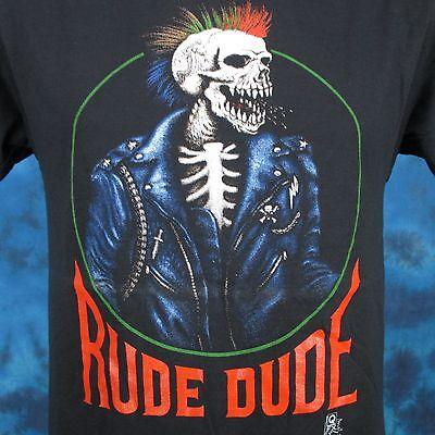 vintage 80s RUDE DUDE SKELETON RAINBOW MOHAWK PAPER THIN T-Shirt SMALL punk rock (80 Punk)