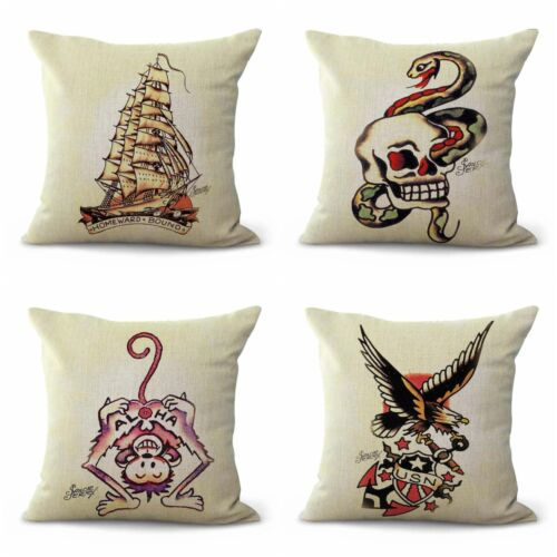 US SELLER- set of 4 couch throw pillows Sailor Jerry tattoo
