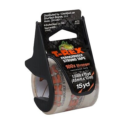 New - T-rex Strong Clear Packing Tape With Dispenser 1.88 In. X 15 Yd