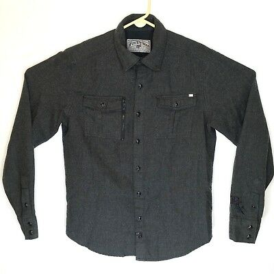 Deluxe Long Sleeve Shirt - Fox Racing Deluxe Premium Mens Shirt M Gray Wool Blend Button Front Long Sleeve