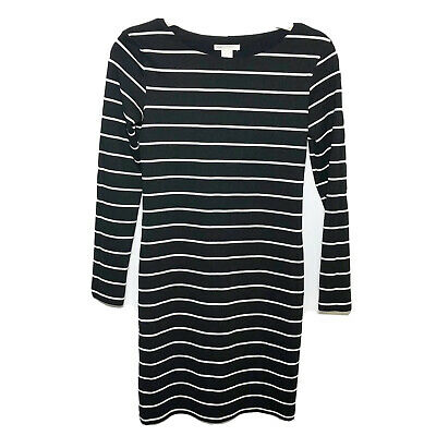 H&M Basic Black Striped Long Sleeve Dress Size XS Boat Neck Stretch Viscose Work