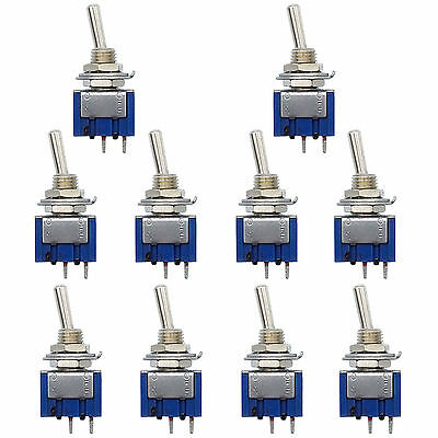 10 pcs 2 Pin SPDT ON-OFF 2 Position 250VAC Mini Toggle Switches MTS-101 US Stock