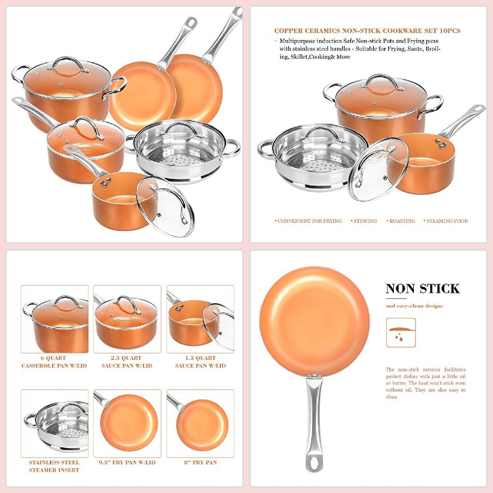Cookware Set Pots And Pans Nonstick Stainless Steel Copper o