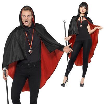 Adults Vampire Fancy Dress Costume Kit Reversible Cape Cane Medallion Halloween