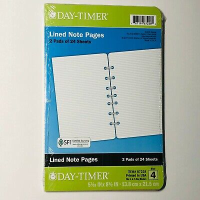 Day-timer Lined Note Pads Size 4 Refill  2 Pads Of 24 Sheets 87228