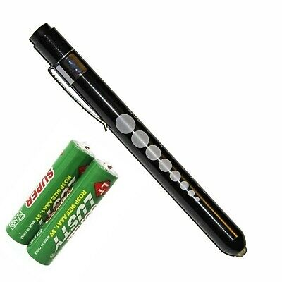Reusable Nurse Aluminum Penlight Pocket Medical Led With Pupil Gauge Batteries