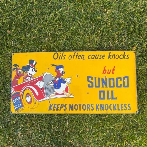 """VINTAGE SUNOCO OIL MICKEY MOUSE DONALD, PLUTO 24"""" PORCELAIN METAL GASOLINE SIGN!"""