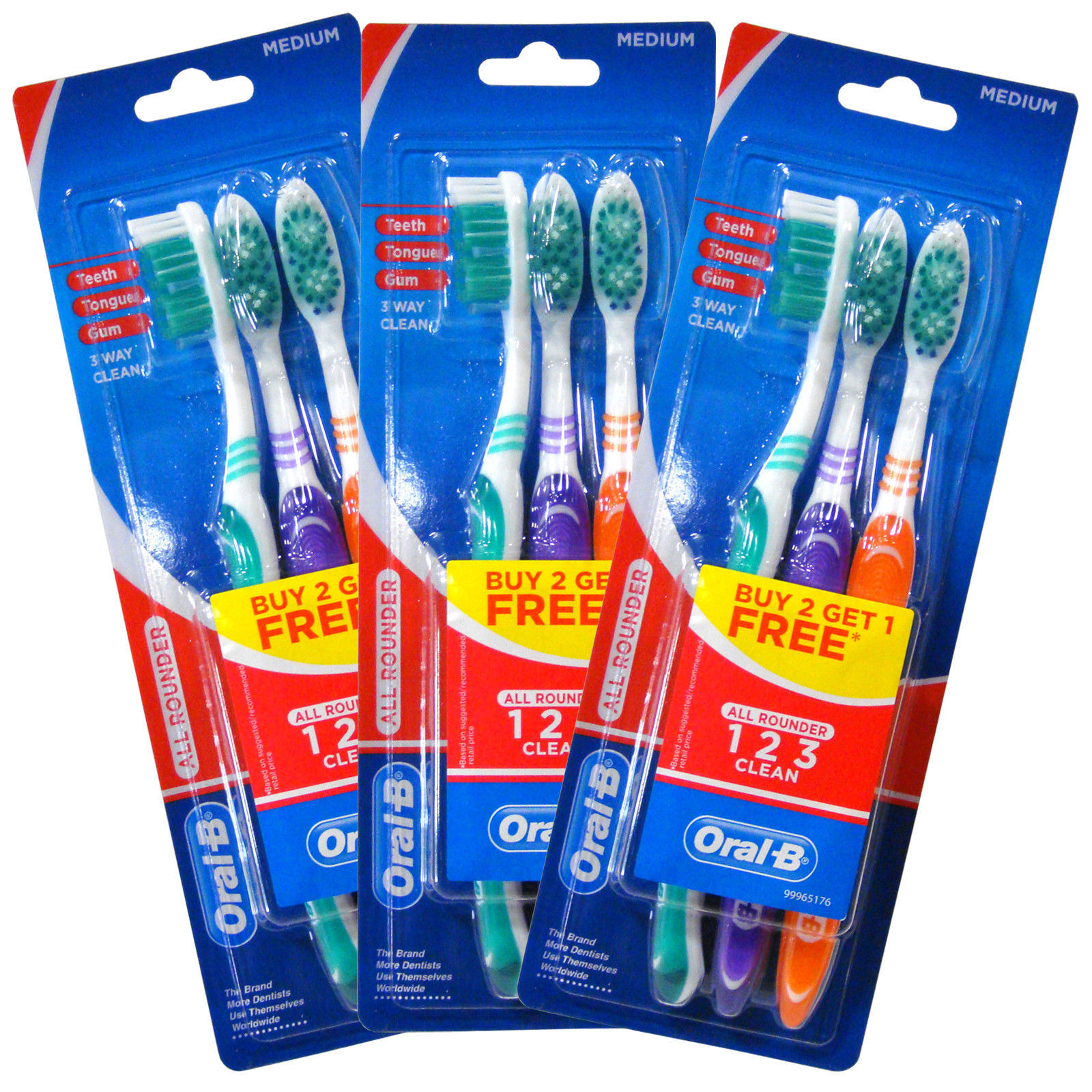 Oral-B Oralb All Rounder Medium Toothbrush 3 Pack X3