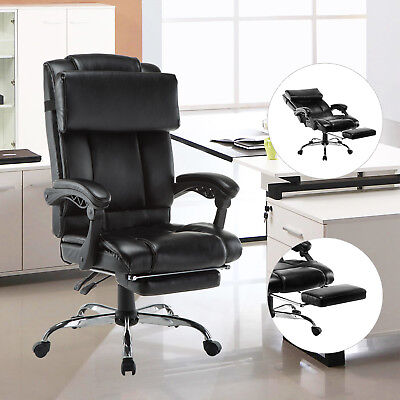 Executive High Back Leather Reclining Office Chair Ergonomic Footrest Armchair