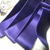 1y ANTIQUE FRENCH SILK COTTON DEEP PURPLE VELVET RIBBON TRIM VESTMENT VICTORIAN