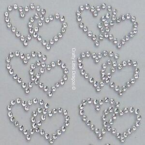 20 x Double Hearts Clear Rhinestone Diamante Stick on Self Adhesive GEMS Wedding