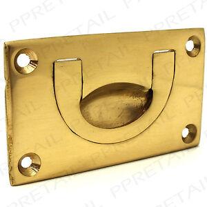 SOLID BRASS FLUSH DROP HANDLE 70mm Furniture Cupboard Door/Draw Recessed Pull