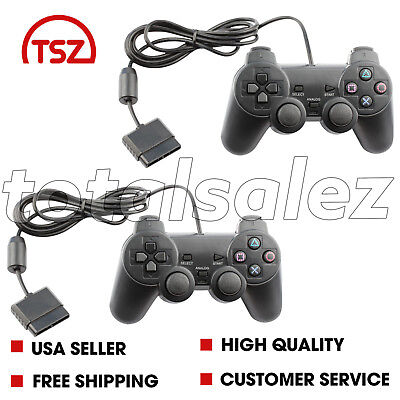 2 For Sony PS2 Playstation 2 Black Twin Shock Game Controller JoyPad Remote (Sony Playstation 2 Remote)
