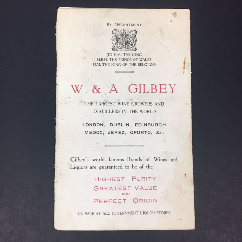 W & A Gilbey Distillery Price Guide Printed in England Gilbey