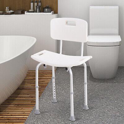 HOMCOM Silla Ducha con Respaldo Taburete Baño WC Altura Regulable Antideslizante