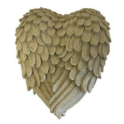 "Vintage Jewelry Box Ceramic Heart-Shaped Angel Beige Faux Feathers 5"" x5"""