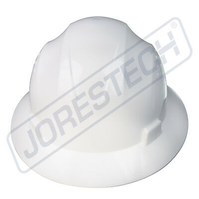 White Hard Hat Full Brim Jorestech 4 Point Ratchet Suspension Construction Ansi