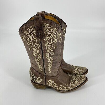 Corral Teens Girls Size 2 Brown Leather Embroidered Distressed Western Boots