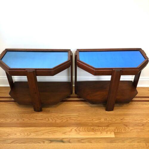 PAIR vintage Art Deco blue mirror glass tables end side tables 6 sides