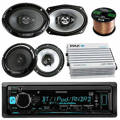 "Kenwood Car Bluetooth Radio Player 2 X 6x9"" 2 x 6.5"" Speakers W/Wire 400W Amp"