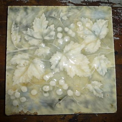 Antique Porcelain Tile 6x6 Majolica Art Nouveau Grapes Leaves Leaf