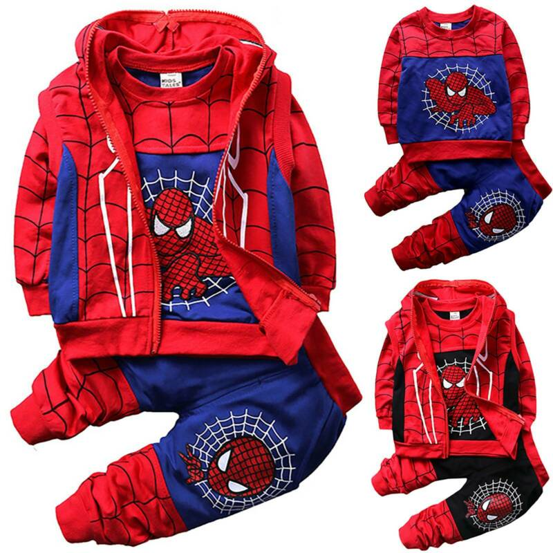 2PCS Boys Kids Fancy Dress Spiderman Hoodies Sweatshirt Pants Cosplay Costumes