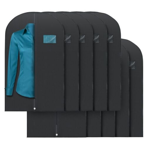 """Plixio 40"""" Black Garment Bags for Breathable Storage of Suits or Dresses 10 Pack"""