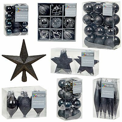 Black Collection Christmas Decorations Baubles Stars Cones Hearts Tree Topper (Black Christmas Decorations)