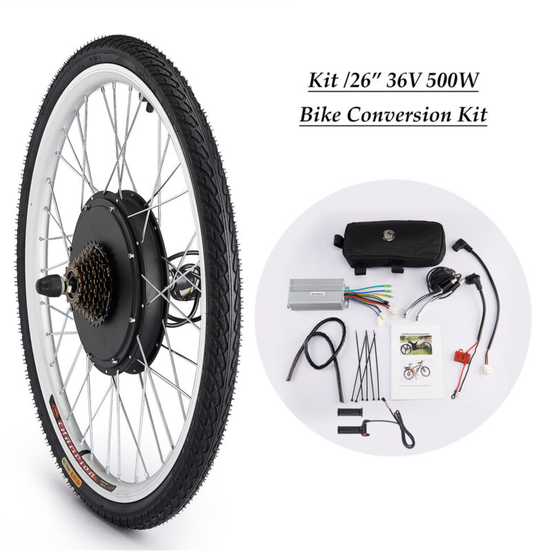 "500W 36V 26"" Hinterrad E-Bike Elektrofahrrad Motor Umbausatz Conversion Kit"