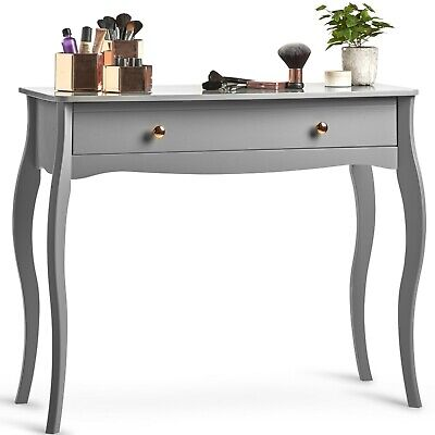 Beautify Grey Vintage Style Dressing Table with 1 Drawer for Makeup Jewellery