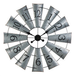 Large Galvanized Rustic 33 Windmill Wall Clock Farmhouse Country Decor