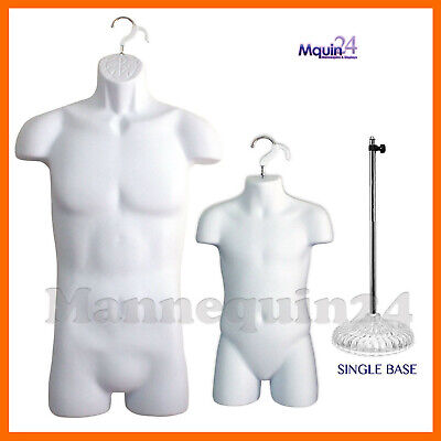 Male  Child Torso Dress Forms Set 1 Stand 2 Hangers - White Mannequins