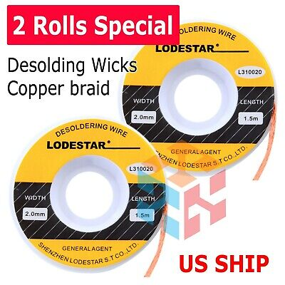 2x 2.0mm Desoldering Braid Wick Solder Remover W No Residue Rosin Flux 5 Ft Us
